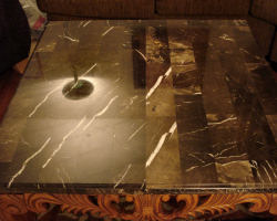 Emperador Marble Table Restored - AFTER