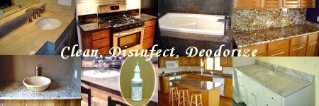Safe and  effective granite counter top care products.